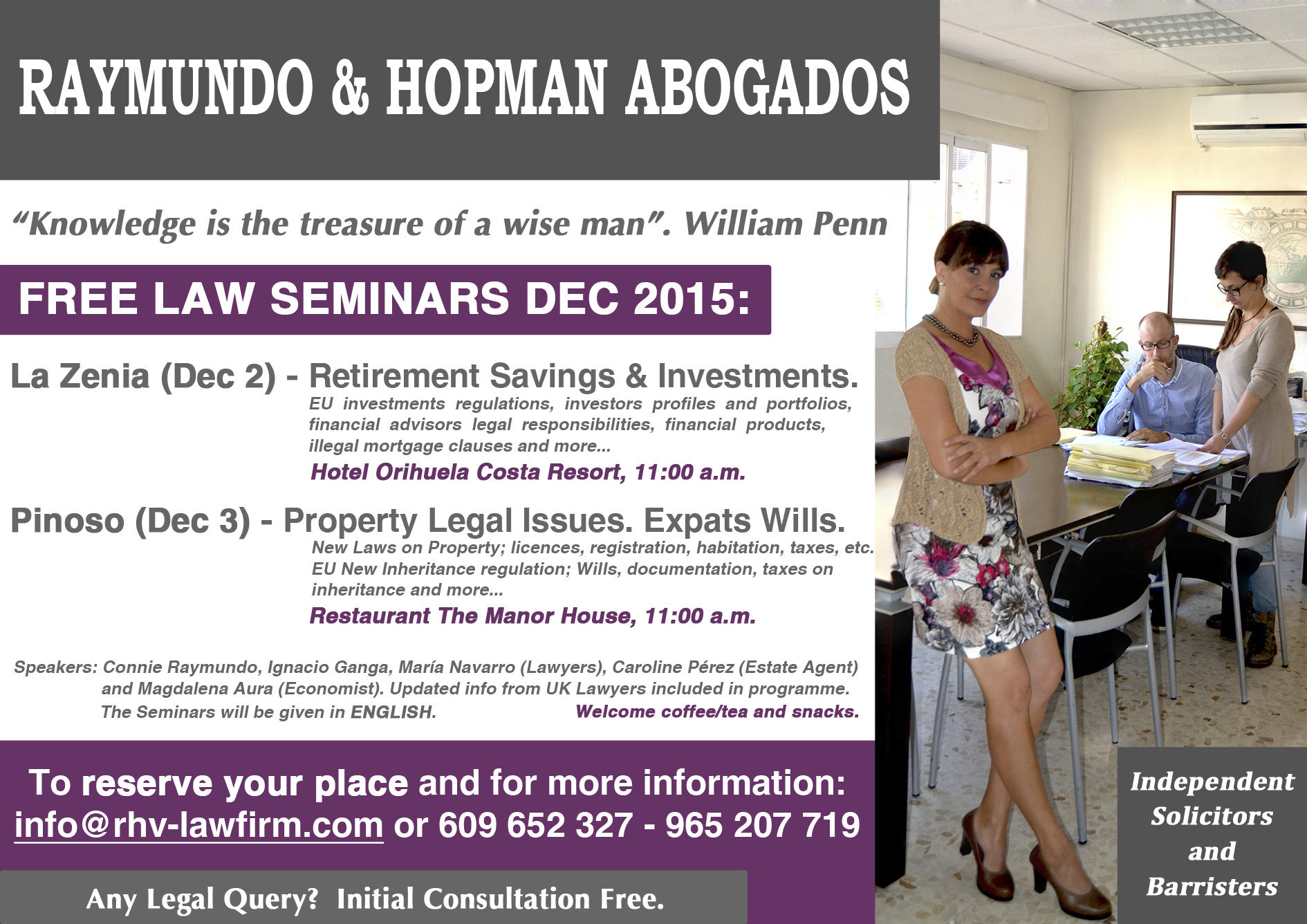 Seminar Investments Conveyancing Property Inheritance Wills Litigation - PINOSO