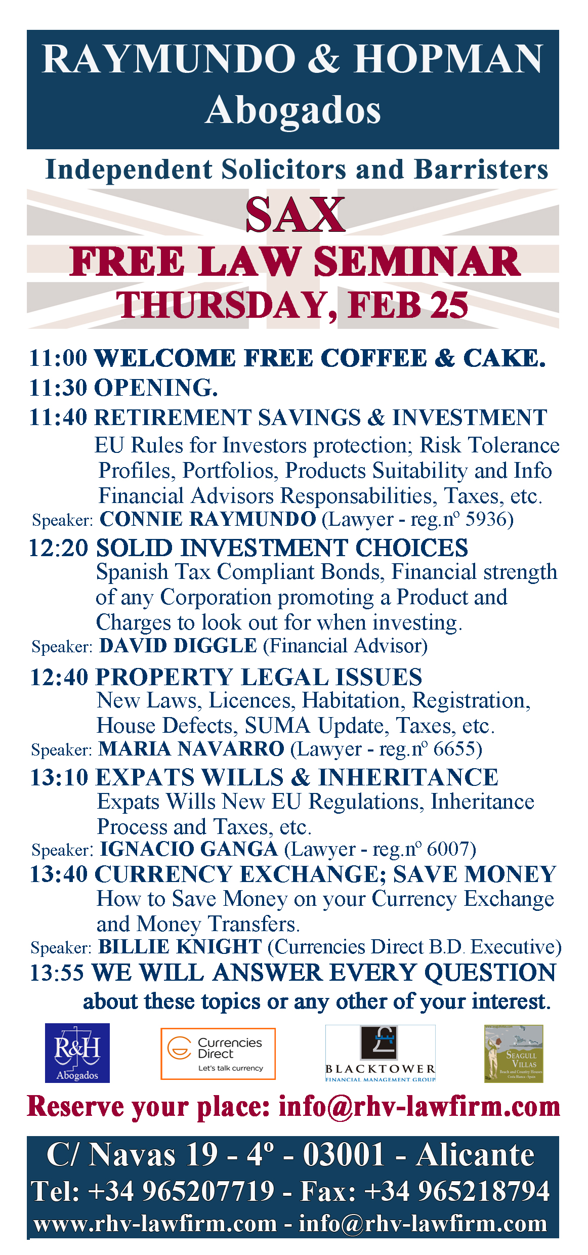Free Law Seminar - Abogados Alicante, Independent Solicitor, Barristers, Lawyers, Tax Advisors, Conveyance & Property Experts, Architect, Translators, etc.